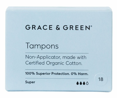 Grace & Green Non-Applicator Tampons Super