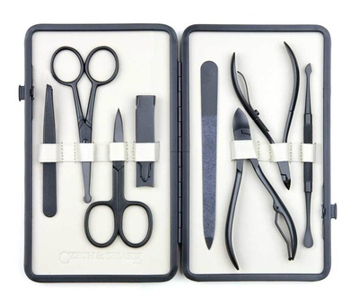 Czech & Speake Leather-Bound Manicure Set - Black/White