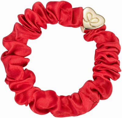 By Eloise Gold Heart Silk Scrunchie Chilli Red