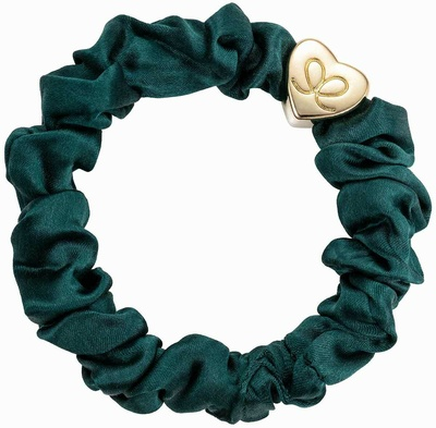 By Eloise Gold Heart Silk Scrunchie Chive Green