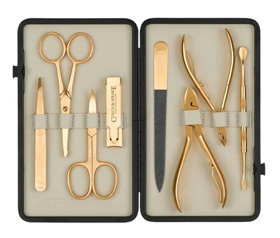 Czech & Speake Leather-Bound Manicure Set - Gold/Cream