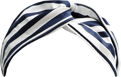 Slip Pure Silk Twist Headband Navy Stripe
