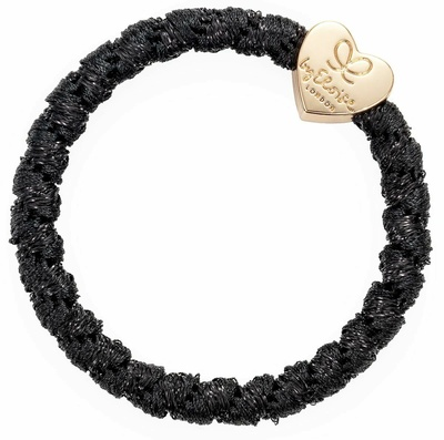 By Eloise Woven Gold Heart Black Shimmer