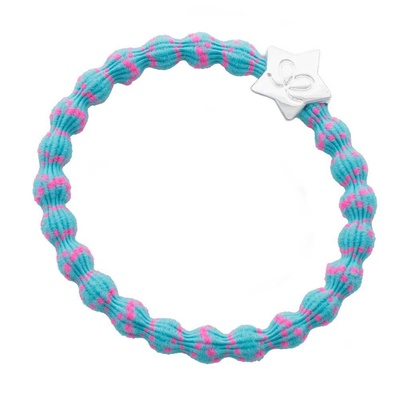 by Eloise Silver Star Bubblegum Neon Pink on Neon Blue